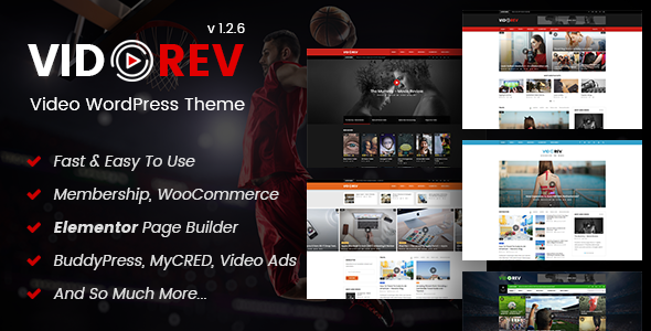VidoRev v2.9.9.9.7.8 – Video WordPress Theme nulled